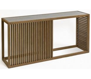 Konsolbord i egetræ og glas B180 cm - Børstet eg/Klar