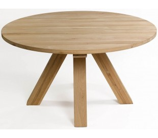 Rundt spisebord i vokset egetræ Ø150 cm - Eg
