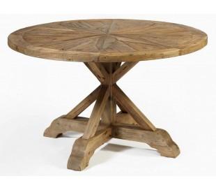 Rundt spisebord i genanvendt fyrretræ Ø135 cm - Rustik natur