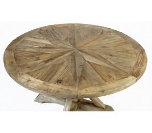 Rundt spisebord i genanvendt fyrretræ Ø150 cm - Rustik natur