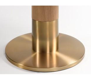 Rundt spisebord i ask træ og metal Ø120 cm - Natur/Guld