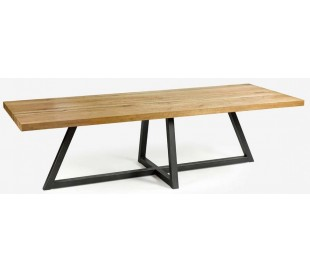 Rustikt spisebord i genanvendt egetræ og metal 280 x 100 cm - Antik sort/Rustik natur
