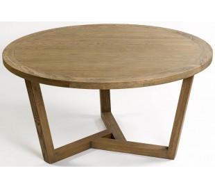Rundt spisebord i egetræ Ø150 cm - Børstet eg