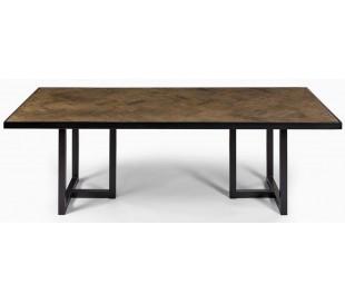 Rustikt spisebord i genanvendt egetræ og metal 240 x 100 cm - Antik sort/Rustik brun