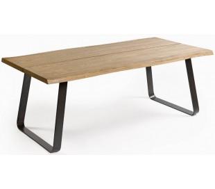 Spisebord i olieret egetræ og metal 200 x 100 cm - Sort/Natur