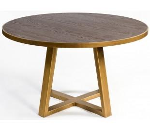Rundt spisebord i egetræ og metal Ø130 cm - Antik guld/Rustik brun