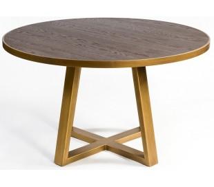 Rundt spisebord i egetræ og metal Ø150 cm - Antik guld/Rustik brun