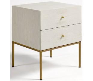 Sengebord i metal og egetræ H60 cm - Antik guld/Antik gråhvid