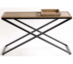 Konsolbord i aldret egetræ og metal B140 cm - Antik sort/Pigmenteret