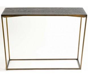 Konsolbord i egetræ og metal B120 cm - Antik kobber/Mørkebrun