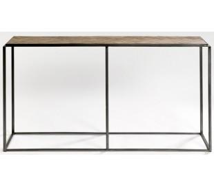 Konsolbord i genanvendt fyrretræ og metal B160 cm - Antik sort/Rustik brun