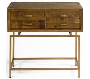 Konsolbord i genanvendt fyrretræ og metal B90 cm - Antik guld/Brunbejset