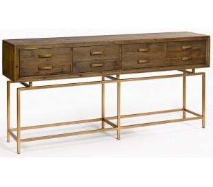 Konsolbord i genanvendt fyrretræ og metal B181 cm - Antik guld/Brunbejset
