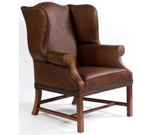 Lænestol i bøffellæder og egetræ H104 cm - Vintage brun