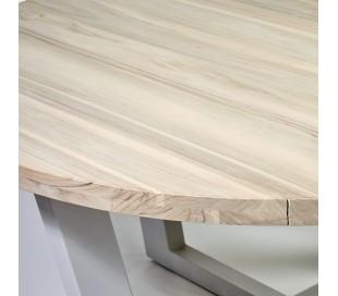 Rundt havebord i teaktræ og aluminium Ø160 cm - Taupe/Natur