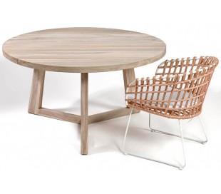 Rundt havebord i teaktræ Ø140 cm - Natur