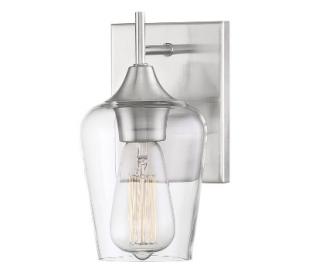 Octave 1 Væglampe H24 cm - Satineret nikkel/Klar