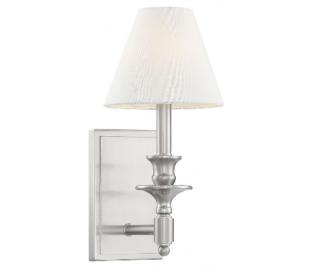 Washburn 1 Væglampe H38 cm - Satineret nikkel/Hvid