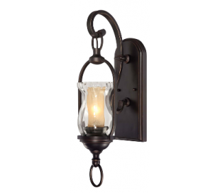 Shadwell 1 Væglampe H54 cm - Antik bronze/Klar/Rav