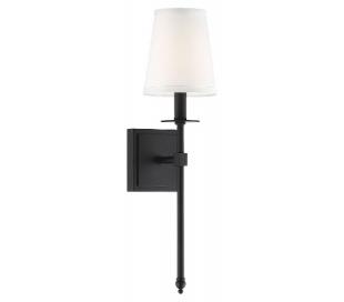 Monroe 1 Væglampe H51 cm - Mat sort/Hvid