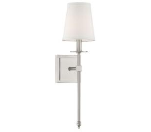 Monroe 1 Væglampe H51 cm - Satineret nikkel/Hvid