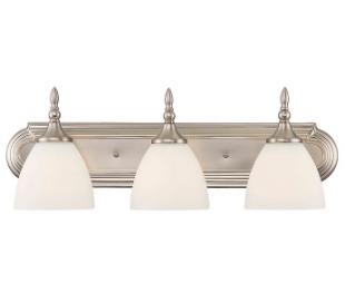 Herndon 3 Badeværelseslampe B61 cm - Satineret nikkel/Opalhvid
