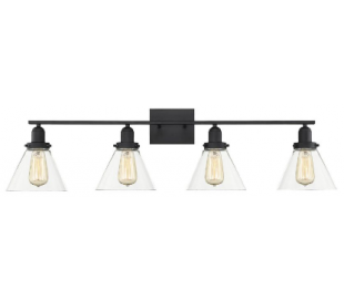 Drake 4 Badeværelseslampe B97 cm - Mat sort/Klar