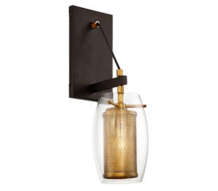 Dunbar 1 Væglampe H41 cm - Varm messing/Antik bronze/Klar