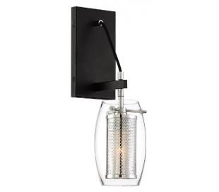 Dunbar 1 Væglampe H41 cm - Poleret krom/Mat sort/Klar