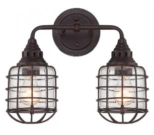Connell 2 Badeværelseslampe B38 cm - Antik bronze/Klar med dråbe effekt