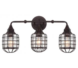 Connell 3 Badeværelseslampe B59 cm - Antik bronze/Klar med dråbe effekt