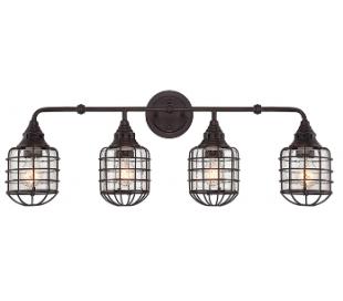 Connell 4 Badeværelseslampe B86 cm - Antik bronze/Klar med dråbe effekt