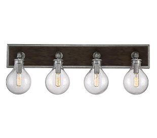 Dansk 4 Badeværelseslampe B73 cm - Galvaniseret metalgrå/Klar med dråbe effekt