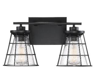 Farnham 2 Badeværelseslampe B41 cm - Mat sort/Klar med dråbe effekt