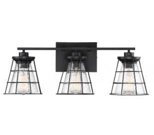 Farnham 3 Badeværelseslampe B61 cm - Mat sort/Klar med dråbe effekt