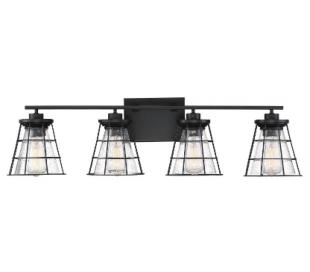 Farnham 4 Badeværelseslampe B84 cm - Mat sort/Klar med dråbe effekt
