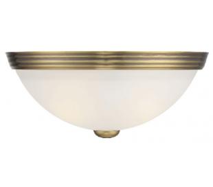 Halvrund Væglampe B28 cm - Varm messing/Hvid