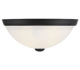 Halvrund Væglampe B28 cm - Mat sort/Hvid