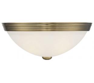Halvrund Væglampe B33 cm - Varm messing/Hvid