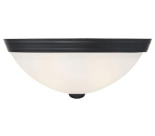 Halvrund Væglampe B33 cm - Mat sort/Hvid