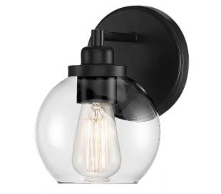 Carson 1 Badeværelseslampe H22 cm - Mat sort/Klar