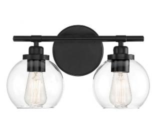 Carson 2 Badeværelseslampe B36 cm - Mat sort/Klar