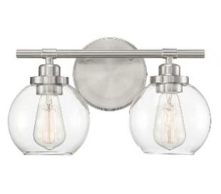 Carson 2 Badeværelseslampe B36 cm - Satineret nikkel/Klar