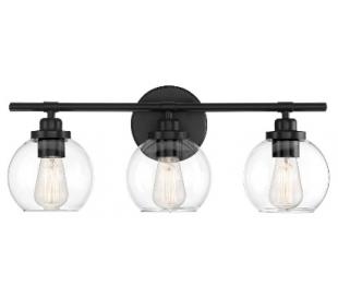 Carson 3 Badeværelseslampe B57 cm - Mat sort/Klar