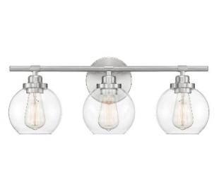 Carson 3 Badeværelseslampe B57 cm - Satineret nikkel/Klar