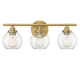 Carson 3 Badeværelseslampe B57 cm - Varm messing/Klar