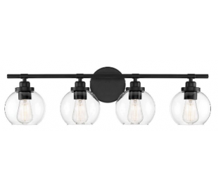 Carson 4 Badeværelseslampe B76 cm - Mat sort/Klar