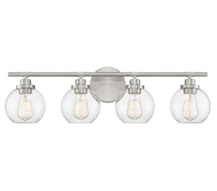Carson 4 Badeværelseslampe B76 cm - Satineret nikkel/Klar