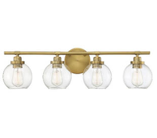 Carson 4 Badeværelseslampe B76 cm - Varm messing/Klar