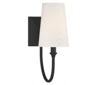 Cameron 1 Badeværelseslampe H33 cm - Mat sort/Hvid